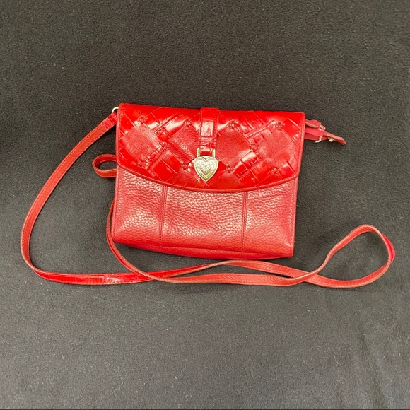 Brighton Handbags - BRIGHTON RED LEATHER CROSSBODY BAG